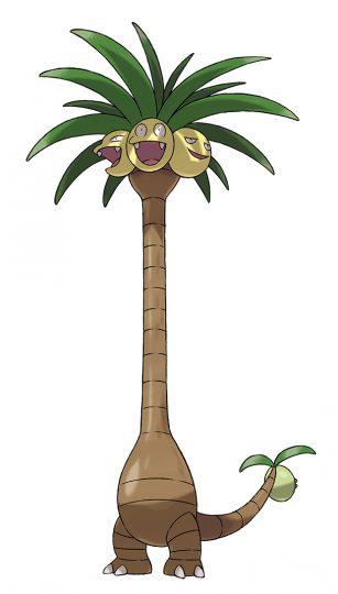 Noadkoko d'Alola - type : Plante/Dragon - À la différence des autres Noadkoko, ceux d'Alola ont une quatrième tête, indépendante, située au bout de leur queue. Elle leur permet de faire face à des adversaires qui les attaqueraient par-derrière.
