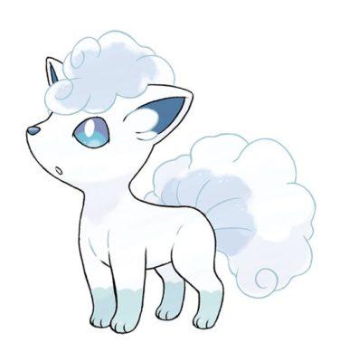Goupix d'Alola - type : Glace - Il est dit que les Goupix sont venus à Alola en même temps que les humains. Pour éviter de se mêler aux autres Pokémon, ils ont toutefois migré vers les sommets montagneux enneigés. Cela a donné naissance à leur nouvelle forme.