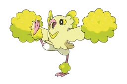 Style Pom-Pom - type : Électrik/Vol - Les Plumeline de Style Pom-Pom sont très amicaux envers les humains. Il leur arrive de danser pour remonter le moral des Dresseurs déprimés. Pendant leurs danses, leurs plumes se chargent d'électricité statique.