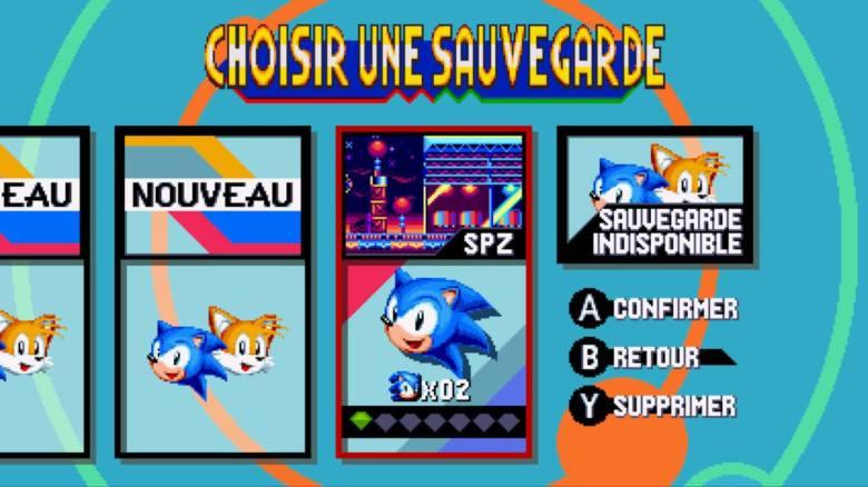 Sonic Mania Test My Geek Actu Sauvegarde
