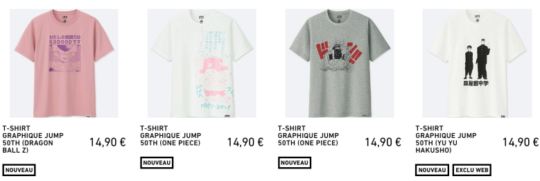Collection UNIQLO x Shonen Jump Geekeries My Geek Actu